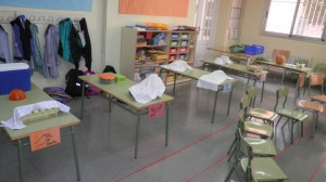 L'aula preparada abans del taller