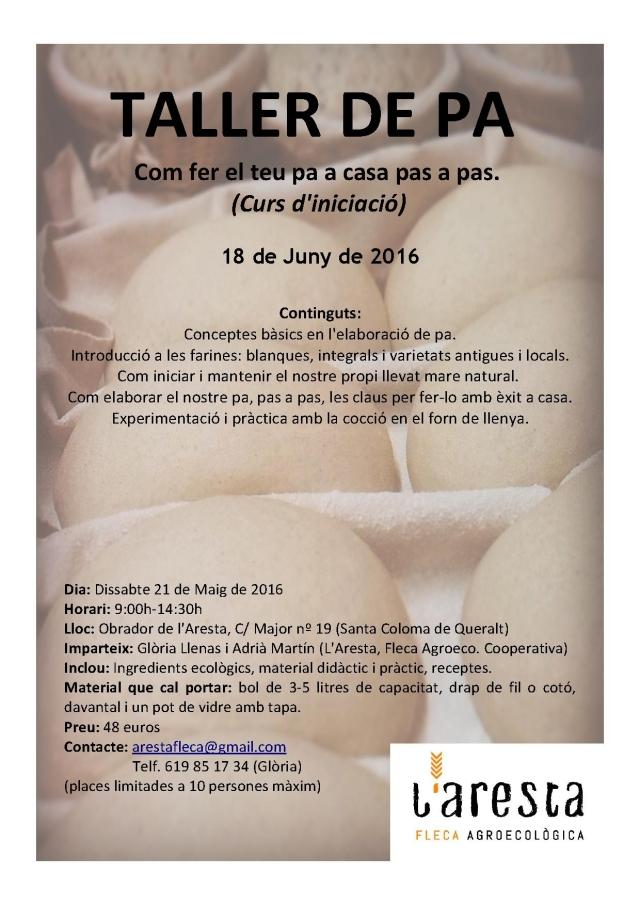 Cartell TALLER A L'OBRADOR 18 de Juny 2016